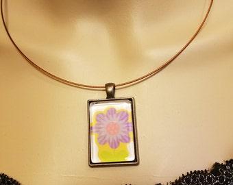 Necklace Purple Flower Pendant