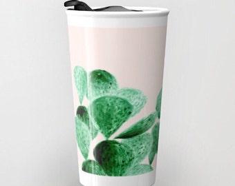 Blush Pink Cactus Travel Mug, blush pink mug, pink travel mug, blush travel mug, cactus travel mug, pink cactus mug, blush cactus mug
