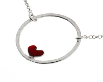 Sterling silver Valentine red heart necklace