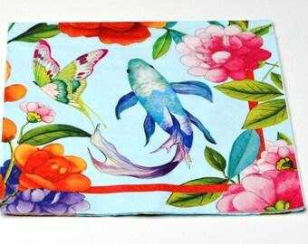 Carp Decoupage Paper Napkins, Fish Paper Napkins for Decoupage, Mix Media, Collage Scrapbooking Paper