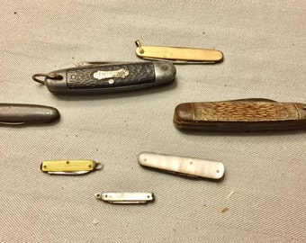 Lot of Seven Vintage Pocket Knives Pen Knife Hunting Knife Camping
