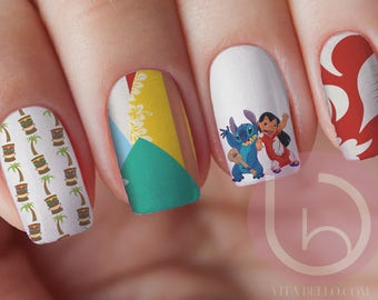 Disney nail art etsy lilo and stitch hawaii waterslide nail decal nail design nails disney nail prinsesfo Gallery