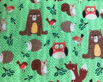 FLANNEL - Green Forest Animal Fabric - Bear Flannel Fabric - Fox Flannel Fabric - Porcupine Flannel Fabric - Squirrel Flannel Fabric