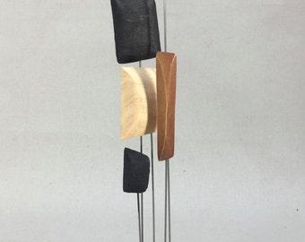 Wood Sculpture Metal Rods Mid Centruy Modern Look...