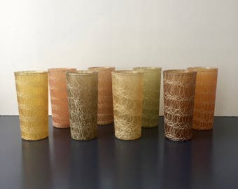 vintage spaghetti splatter coated glassware mcm earth toned barware
