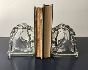 vintage Federal glass horse head bookends clear