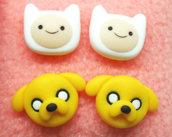 Adventure Time Finn and Jake polymer clay stud earrings