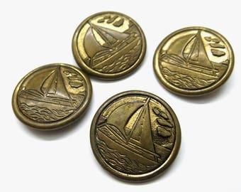 Old sail motif buttons // Light- Metal Button antique // 1930 - 1950 Collectibles