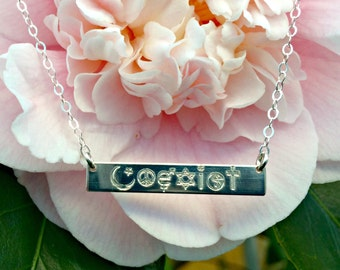 Coexist Necklace - Sterling Silver or 14k Gold Filled Engraved Horizontal Bar, Spiritual Jewelry