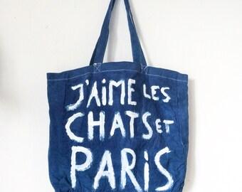 CUSTOM I Love Cats and Paris Tote Bag J'aime Les Chats et Paris Large Eco Tote Cotton Shopper / Eve Damon