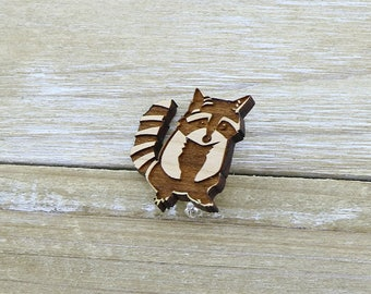 Adorable Laser Cut Wood Raccoon Badge/Brooch - Australian Seller
