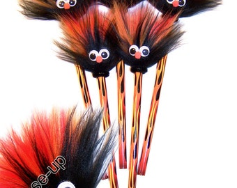 "5 Fuzzy Pencils  ""A SMILE with a TWIST"" Jack O Flames"