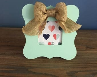Mint painted, wooden picture frame, 3x3 with burlap bow
