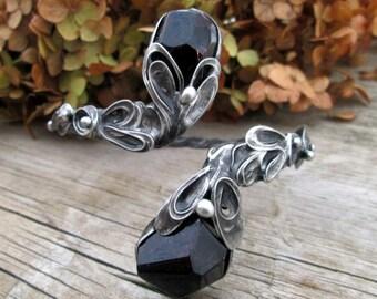 metal  bracelet with  Natural garnet