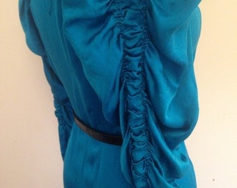 Gorgeous 1930s Silk Dress / Vintage 30s Turquoise French Silk Long Sleeve Dress / Edwardian Button Down Silk Evening Dress
