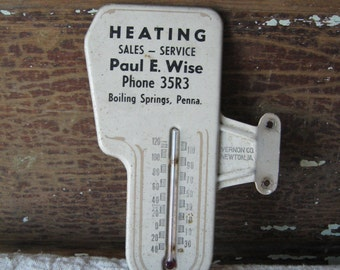 Advertising Thermometer, Unusual Shape, Heating Sales & Service Co., Pennsylvania, Vintage