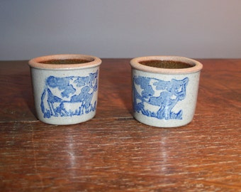 Pair of Small Stoneware Crocks Cow Farmhouse Butter Holders