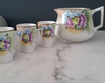 Gorgeous Art Deco Era Hand Painted Porcelain Lemonade or Hot Chocolate Serving Pitcher With Three Cups - Japan