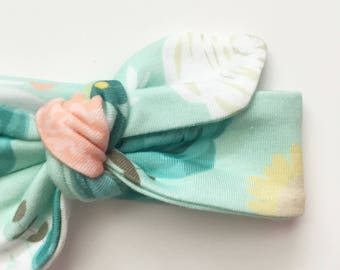 Mint floral baby headband...kids headband...adult