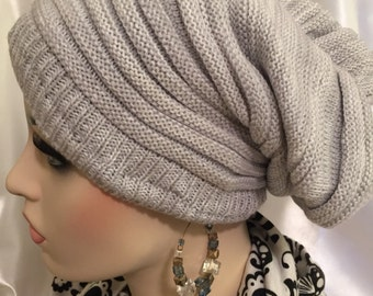Satin Lined Hat-Elegant Chill-Light Grey-Slouch Beanie-loose fit slouchy