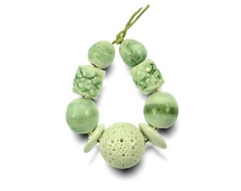 Peppermint Crisp Porcelain Beadset Handmade in South Africa