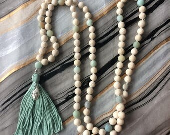 White Riverstone Mala Prayer Necklace with Amazonite, Tassel and Buddha