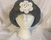 Hand crocheted hat in grey