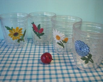 Insulated Flower Tumblers - Thermo - Double Walled -  Clear - Set of 4 - Tervis Style - Vintage 1970's