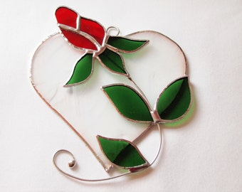 Stained Glass Red Rose Heart Suncatcher