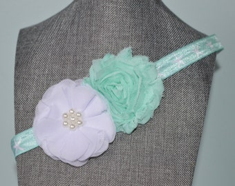 Mint and White Shabby Chic Headband