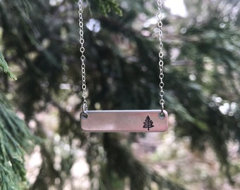 Evergreen Tree Silver Bar Necklace, Pine Tree Necklace, Forest Necklace, Plant A Tree Necklace