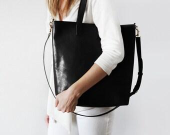 Schwarzes Leder Crossbody Shopper   Perfekt Für Den Alltag, Arbeit, Schule,  Markt!