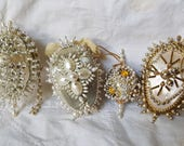 4 Vintage Christmas Ornaments Beaded Sequins 1970s FABULOUS White SILVER and GOLD