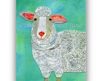 "Sheep art, Farm nursery decor, Archival print 5 x 7"", Farm animal collage, White sheep giclee print, Lamb art, Acrylic sheep painting print"
