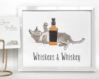 Cat Illustration - Whiskers & Whiskey Art Print - 8x10