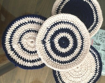 Handmade Crocheted Navy and Cream Set of four Coasters