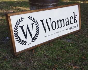 Large Family Name Framed Sign On Sale