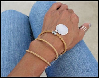 BOHO Leather Wrap Bracelet - Distressed Leather Wrap Bohemian Bracelet w/ Blank Stamping Coin Disc Charm - Pick COLOR / SIZE - Usa - 720