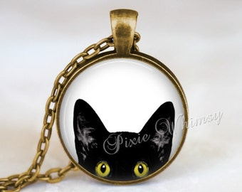 CAT PEEKING Necklace Pendant Black Cat  Kitten Jewelry Charm Keychain Glass Photo Art Necklace Pendant Halloween Necklace Gothic Yellow Eyes