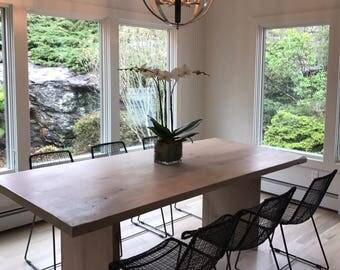 "Light Whitewash Solid White Oak ""BOSS"" Style Table"