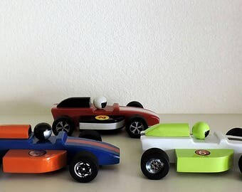 Wooden toy cars, set of three indy race cars