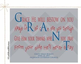 Baptism Gifts For Godchild Baby Boy Christening Gift God Child Gift Baby Blessing Baptism Print Christian Baby Gift Poem 8x10 Grant