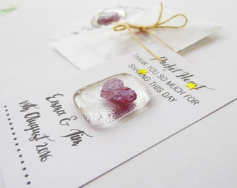 wedding favour personalised wedding day favour fused glass hearts