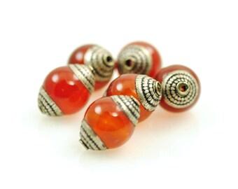 Tibetan Bead-Tibetan Carnelian Bead-Nepal Silver-Carnelian-Tibetan Focal Bead-Nepal Carnelian Bead-Carnelian and Silver-Carnelain Focal Bead