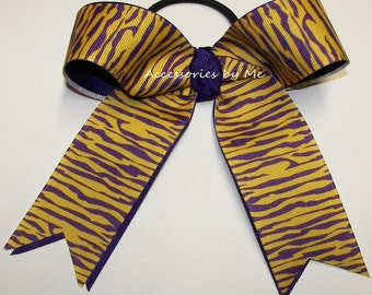 Bulk Price Tigers Cheer Bow, Purple Gold Ponytail Holder, Cheap Purple Tiger Cheerbows, LSU Wild Cats Cheerleader Bows, Volleyball Hair Bows