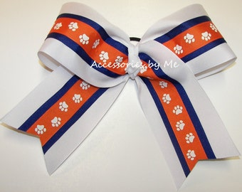 Big Cheer Bow, Paw Print Orange Purple White 7 Inches Cheerleader Bows, Clemson Tigers South Carolina Team Spirit Clips, Softball Bulk Price