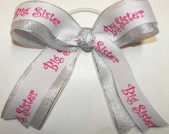 Big Sister Ponytail Holder, Hot Pink White Silver Ribbon Hairbow, Girls Little Middle Big Sister Bow, Sorority Bow, New Baby Sister Hairbows