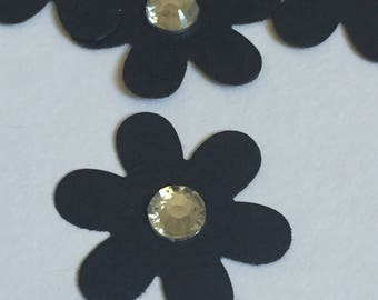 100 flowers with crystal center black