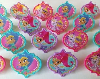 24 SHIMMER AND SHINE rings cupcake toppers cake birthday party favors goodie bags decorations Tala Nahal Nickelodeon Zahramay genies Leah