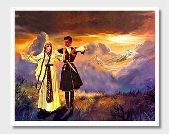 Armenian Dancers, Masis Ararat, Armenia Art, Digital Paintings, Wall Decor, Armenian Wall Decor, Armenian Wall Art, Armenian Couple, Artwork